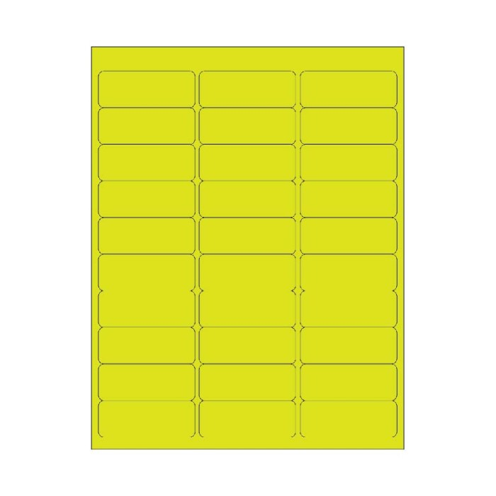 2 5/8 X 1 (30-UP) CHARTREUSE 100/BX